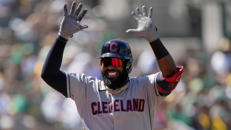 Cleveland Indians' Franmil Reyes celebrates after hitting a home run against the Oakland Athletics, on July 17, 2021. (Tony Avelar / AP)
