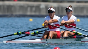 Canada's Jessica Sevick and Gabrielle Smith compete in the women's double sculls at the 2020 Summer Olympics, July 23, 2021, in Tokyo, Japan. (AP Photo/Darron Cummings)