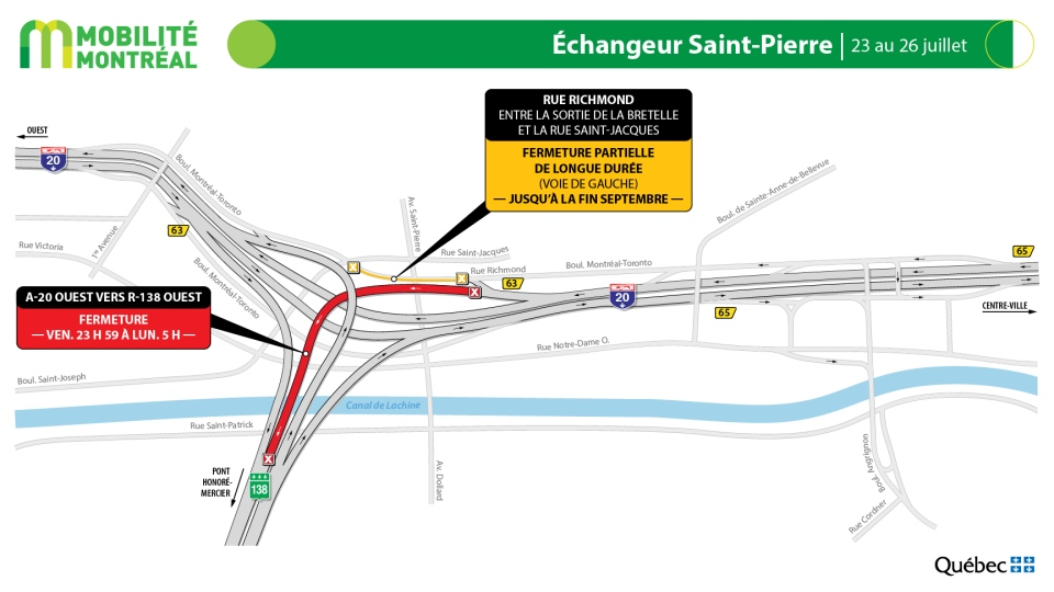 Saint-Pierre Interchange closures July 23-26