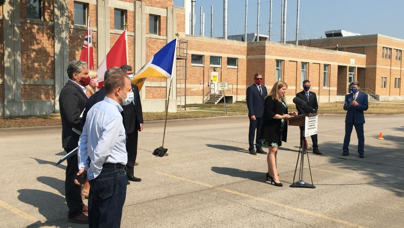 A news conference is held on July 23, 2021, in Winnipeg to announce $212.8 million from the federal and provincial governments to upgrade the North End Sewage Treatment Plant's Headworks Facilities. (Source: Jeff Keele/ CTV News Winnipeg)