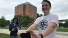 University of Windsor students Adam Pillon (front) and Jackie Fong (rear) are part of a new social media campaign encouraging students to #takeajabuwindsor Michelle Maluske/CTV Windsor
