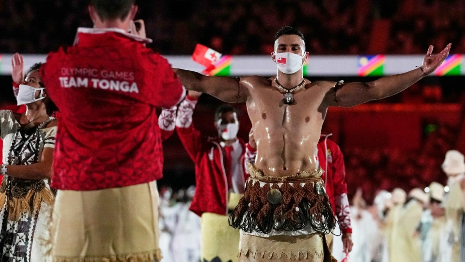 Tongan Pita Taufatofua at the opening ceremony