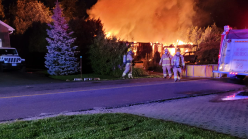 Smoke alarms alert the elderly home owner that destroyed his Oro-Medonte home on Fri., July 23, 2021. (Courtesy: Chris Dennie/FACEBOOK)