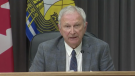 New Brunswick premier Blaine Higgs provides an update on COVID-19 at a news conference in Fredericton on July 23, 2021.
