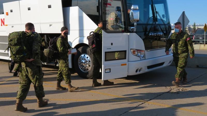 Soldiers from Princess Patricia's Canadian Light Infantry depart to British Columbia to support firefighting efforts in the province's emergency wildfire situation, July 23, 2021.