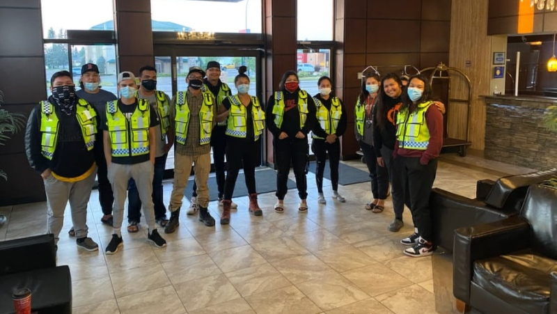 The Meadow Lake Tribal Council's security team has been helping evacuees who remain in hotel rooms in isolation after testing positive for COVID-19. (Daryl Wright/Submitted)