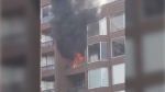 First responders said the fire was reported shortly before noon at the building on Hornby Street north of Pacific Street.