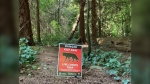 A sign in Stanley Park warns of a nearby coyote trap. (Facebook/BC Conservation Officer Service)