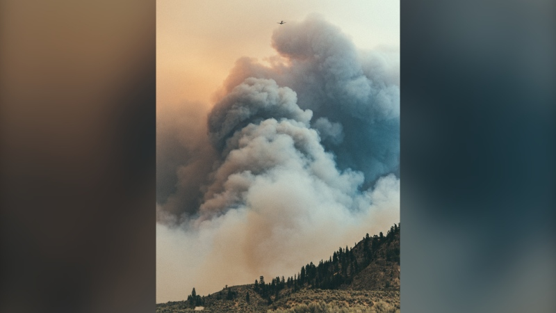 A photo from Kyle Murray, provided to CTV News Vancouver, shows smoke from the Nk'Mip Creek wildfire on Monday, July 19, 2021.