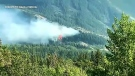 The fire erupted over supper hour Friday, near Lac des Arcs east of Canmore, sending smoke into the eastbound lanes of Hwy. 1.