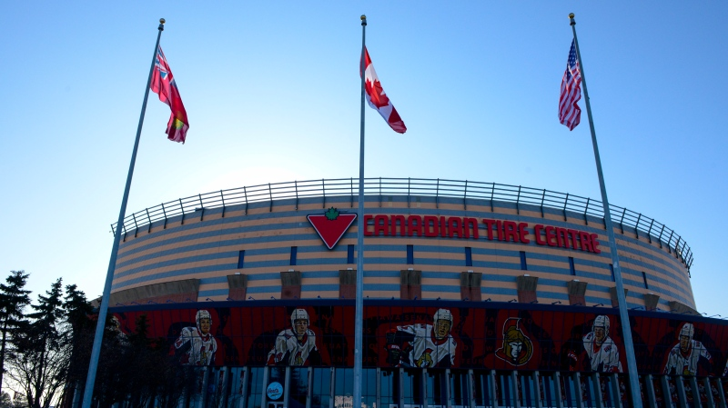 The Canadian Tire Centre, home rink of the Ottawa Senators, is pictured in Ottawa on Thursday, March 12, 2020.  (THE CANADIAN PRESS/Sean Kilpatrick)
