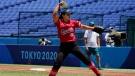 Canada's Jenna Caira pitches against Australia in the sixth inning of a softball game in Yokohama Baseball Stadium at the 2020 Summer Olympics, Saturday, July 24, 2021, in Yokohama, Japan. (AP Photo/Sue Ogrocki)