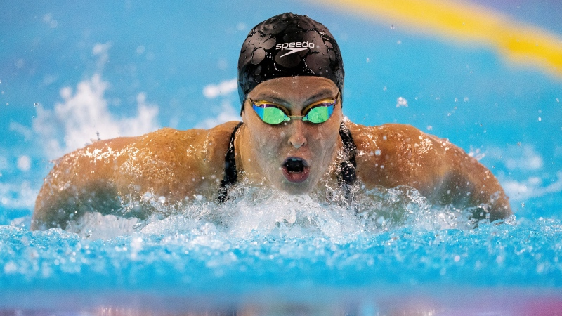 Sydney Pickrem swims her way to first place in the Women's 400m IM at the Olympic Swimming Trials in Toronto on Wednesday June 23, 2021. THE CANADIAN PRESS/Frank Gunn