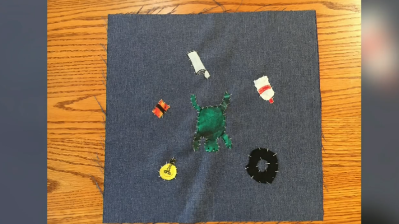 As part of an education series by the Orillia Centre for the Arts and Culture, students have made a monument to water out of quilts. (Courtesy: Orillia Centre for the Arts and Culture)