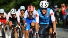 Michael Woods, of Canada, competes in the men's cycling road race at the 2020 Summer Olympics, Saturday, July 24, 2021, in Oyama, Japan. (Tim de Waele/Pool Photo via AP)