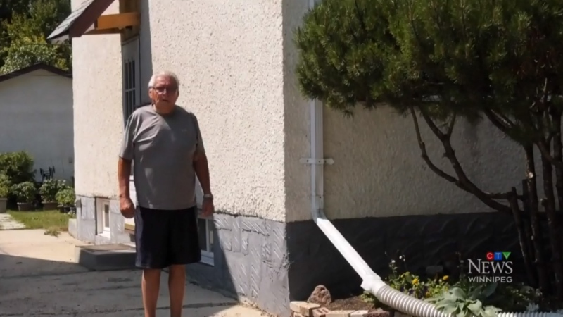 George Munroe's home was impacted by the sewer shaft breach in May 2021 that filled homes with a cement mixture. (Source: Michael D'Alimonte/ CTV News Winnipeg)