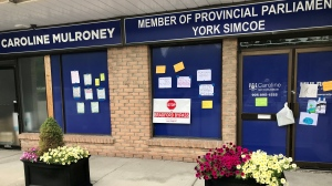 The Simcoe County Greenbelt Coalition led a protest against the Bradford Bypass outside the office of York-Simcoe MPP and Transportation Minister Caroline Mulroney on Sat. July 24, 2021 (David Sullivan/CTV News Barrie)