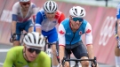 Michael Woods (79) of Canada reacts after finishing 5th in the Men's Cycling Road Race at the Tokyo Olympics in Tokyo, Japan on Saturday, July 24, 2021. THE CANADIAN PRESS/Frank Gunn
