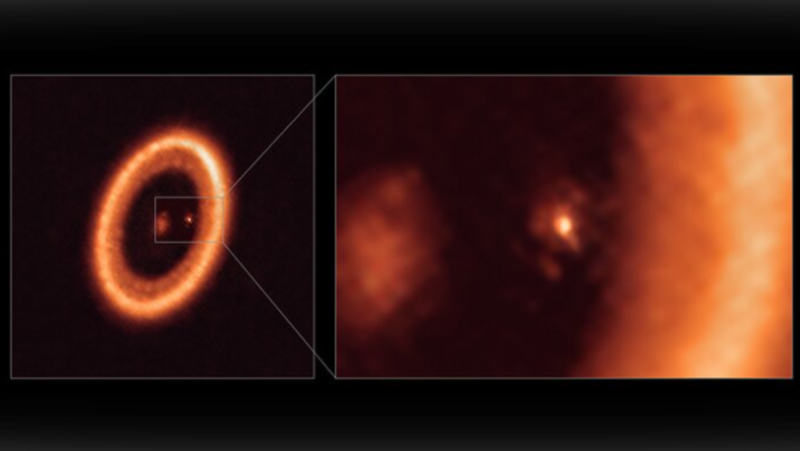 This image, taken with the Atacama Large Millimeter/submillimeter Array (ALMA), in which ESO is a partner, shows wide (left) and close-up (right) views of the moon-forming disc surrounding PDS 70c, a young Jupiter-like planet nearly 400 light-years away. (ALMA (ESO/NAOJ/NRAO)/Benisty et al./Handout)