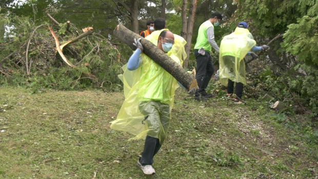 Following a tornado earlier this month, volunteers gather in Barrie's south end to help the ongoing cleanup efforts on Sat. July 24, 2021 (Kraig Krause/CTV News Barrie)