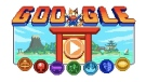 Google's homepage doodle is a throwback to 16-bit video games and a nod to Japanese culture as players work their way through seven sporting events. (Google/STUDIO 4°C)