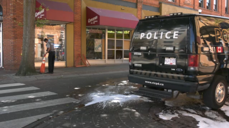Victoria police officers were called to the intersection of Broad and Johnson streets just after 8 a.m. for reports of a fight. (CTV)