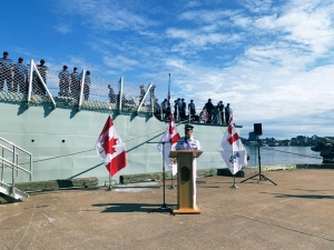 The Commander of Maritime Forces Atlantic, Rear Admiral Brian Santarpia, speaks to dignitaries, including Nova Scotia's Lt. Governor, Arthur LeBlanc, during a small send-off ceremony for HMCS Fredericton Saturday.