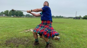 The heavy throwing competition gets underway at the Fergus Scottish Festival and Highland Games. (Colton Wiens/CTV Kitchener) (July 24, 2021)