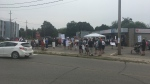 An anti-consumption treatment services rally in Cambridge. (Carmen Wong/CTV Kitchener) (July 24, 2021)