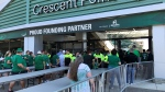 Fans filter into Mosaic Stadium for the Riders' Green and White Scrimmage on July 24, 2021. (Mackenzie Read/CTV News)