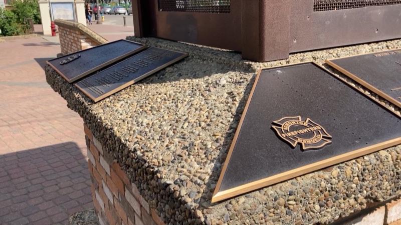 Edmonton Firefighters Memorial Society monument in Strathcona neighbourhood. Saturday July 24, 2021 (CTV News Edmonton)
