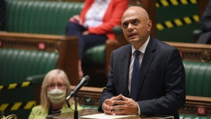 In this handout photo provided by U.K. Parliament, Britain's Health Secretary Sajid Javid updates MPs on the governments coronavirus plans, in the House of Commons, London, Monday, July 12, 2021. (Jessica Taylor/UK Parliament via AP)