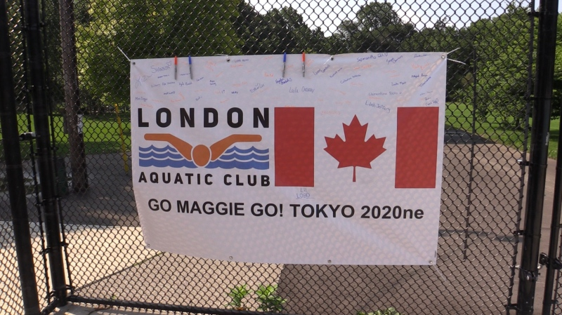 Banner signed by LAC cheering on Maggie Mac Neil