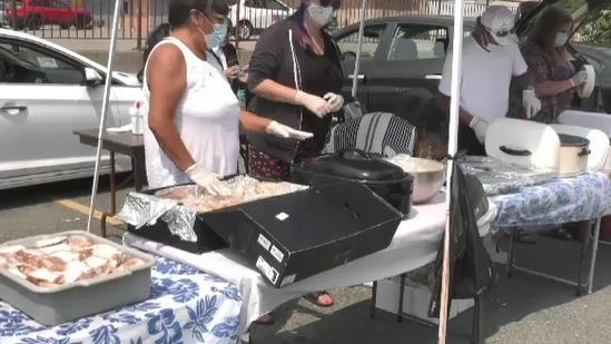 Violet Blount, her husband, and family have formed 'Vie's Pantry' and have been providing warm meals to the city's less fortunate every Sunday. July 25/21 (Ian Campbell/CTV News Northern Ontario)