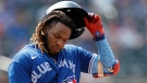 Toronto Blue Jays' Vladimir Guerrero Jr. reacts to grounding out in the seventh inning against the New York Mets during a baseball game Sunday, July 25, 2021, in New York. The Mets won 5-4. (AP Photo/Adam Hunger)