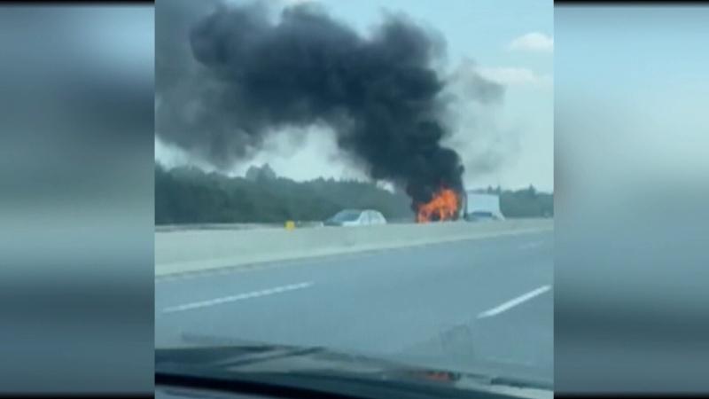 Major truck fire on Hwy 400