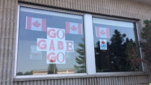 Signs of support and encouragement for the 19-year-old Gabe Mastromatteo have been popping up around his home town of Kenora, Ont., as he competes at the 2020 Tokyo Olympics. (Source: Susan Tymofichuk/ CTV News Winnipeg)