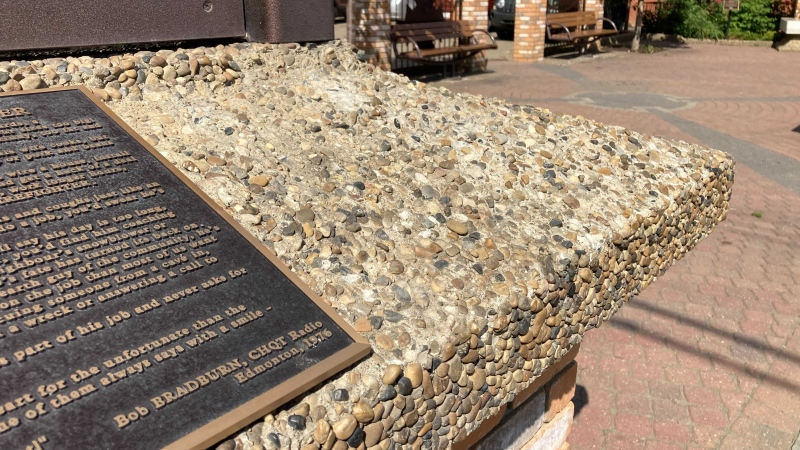 A photo showing where one of the plaques with the names of Edmonton's fallen firefighters would have been (CTV News Edmonton/Brandon Lynch)