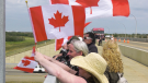 Filming a scene for Fallen Heroes: Their Journey Home. Sunday July 25, 2021 (CTV News Edmonton)