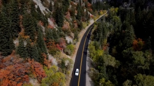 A vehicle travels along the Utah State Route 92., the section known as the Alpine Loop Scenic Highway, Friday, Oct. 2, 2020, in Provo, Utah. (AP Photo/Julio Cortez)