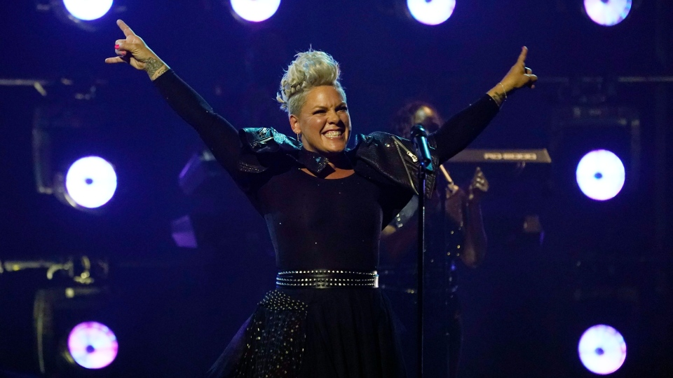 Icon award recipient Pink performs at the Billboard Music Awards, Friday, May 21, 2021, at the Microsoft Theater in Los Angeles. (AP Photo/Chris Pizzello)