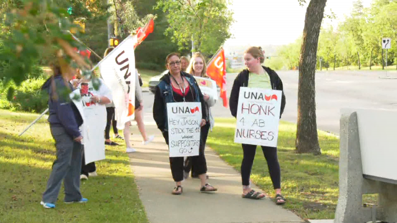 By 6:30 a.m. July 6, 2021, about a dozen picketers had gathered outside the Sturgeon Community Hospital.