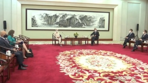 U.S. Deputy Secretary of State Wendy Sherman, centre left, meets with Chinese Foreign Minister Wang Yi at the Tianjin Binhai No. 1 Hotel in the Tianjin municipality in China, on July 26, 2021.  (Phoenix TV via AP Video)