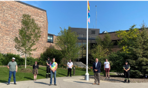 The  rainbow and transgender pride flag was raised at the Simcoe County Administration Centre in Midhurst Mon., July 26, 2021. (Courtesy Andrea Walasek, Public Relations Consultant, County of Simcoe)