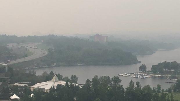 Forest fire smoke over Sudbury's Ramsey Lake. July 25/21 (Credit: Jon Brett)