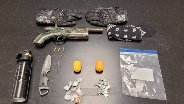 A photo provided by Saskatoon Police Service of weapons allegedly seized during an arrest. (Saskatoon Police Service)