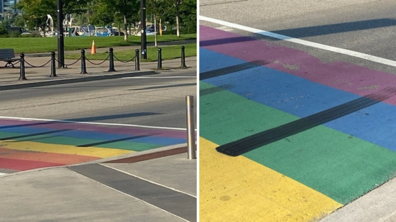 Black tire marks damaged the Pride crosswalk in Barrie, Ont. (Barrie Police Services)