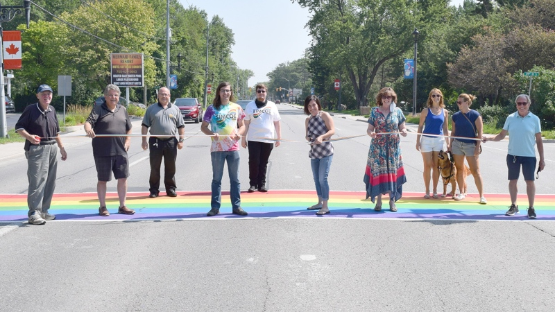 The rainbow crosswalk at Mosley and 39th streets was unveiled on Mon., July 26, 2021. (Courtesy: Town of Wasaga Beach)