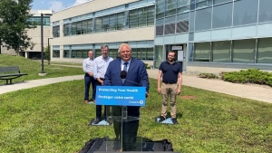 Premier Doug Ford makes an announcement at the Ottawa Hospital General Campus on Monday, July 26. (Colton Praill/CTV News Ottawa)