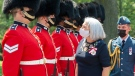 Governor General Mary Simon inspects the honour guard as she arrives at Rideau Hall, Monday, July 26, 2021 in Ottawa.THE CANADIAN PRESS/Ryan Remiorz